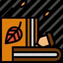autumn, book, fall, leafs, nut, read icon
