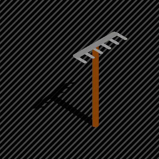 agriculture, farm, illustration, isometric, metal, rake, tool icon