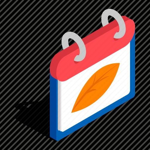 Autumn, calendar, day, illustration, isometric, season, year icon - Download on Iconfinder