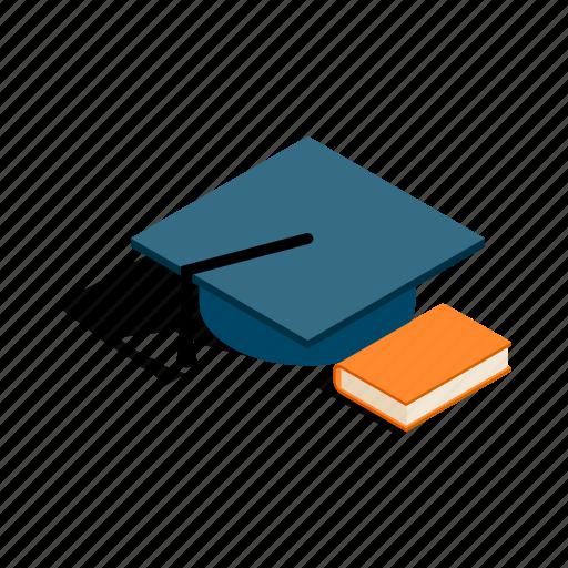 book, college, education, hat, isometric, student, university icon