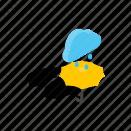 climate, isometric, rain, sky, storm, umbrella, weather icon