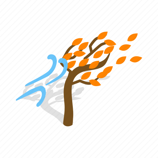 Autumn, fall, isometric, nature, season, tree, wind icon - Download on Iconfinder