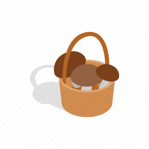 Basket, food, healthy, isometric, mushrooms, nature, vegetable icon - Download on Iconfinder
