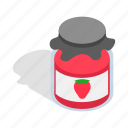 bank, illustration, isometric, jam, jelly, strawberry, sweet
