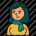 hairpin, profile, woman, people, avatar, scarf, user