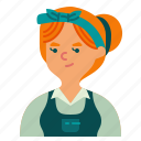 user, headband, maid, woman, woker, profile, avatar icon