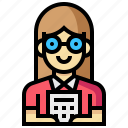 accountant, avatar, human, occupation, profession, woman icon