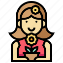avatar, florist, human, occupation, profession, woman icon
