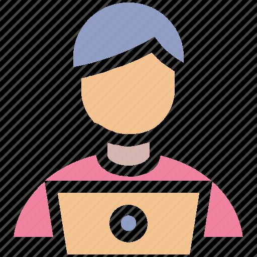 admin, computer, employee, laptop, men, people user icon