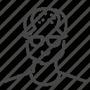 avatar, bald, character, glasses, man, profile, user icon