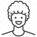 afro, avatar, character, man, profile, user icon