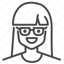 avatar, character, girl, glasses, profile, user, woman icon