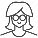 avatar, character, glasses, hairstyles, profile, user, woman icon