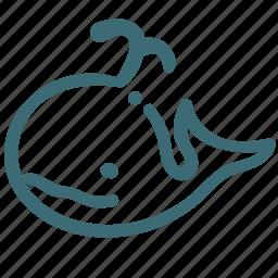 animal, avatar, basic, doodle, whale icon