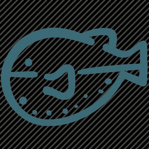 animal, doodle, fish, openbsd, puffer fish, sea icon