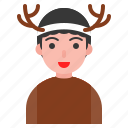 christmas, deer, man, reindeer, winter, xmas icon