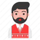 beard, christmas, sweater, ugly, winter, xmas icon