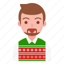 christmas, older, party, sweater, uncle, winter icon