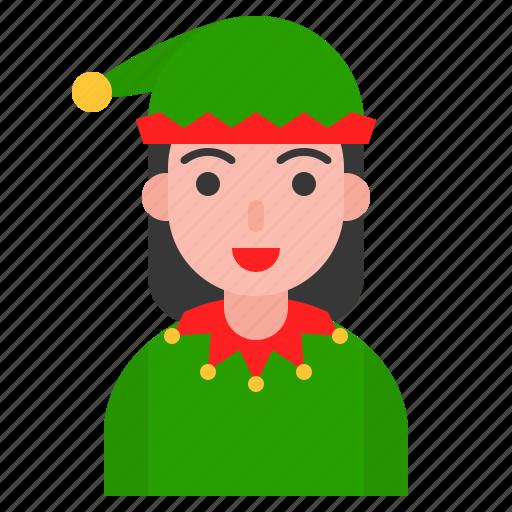 christmas, elf, fancy, girl, party, xmas icon