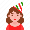 avatar, christmas, cute, party hat, woman icon