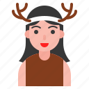 christmas, deer, hairband, horn, party icon