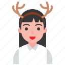 christmas, deer, hair band, holiday, party, santa icon