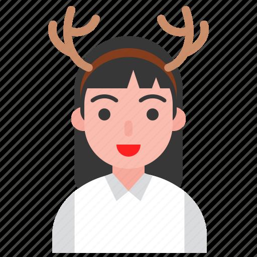 christmas, deer, hair band, holiday, party, santa icon