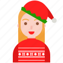 christmas, elf, girl, hat, party, sweater icon
