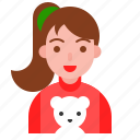 bear, christmas, cute girl, pony tail, sweater, winter icon