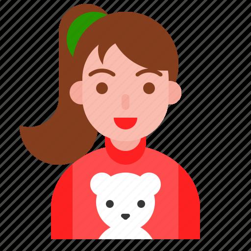 bear, christmas, cute girl, pony tail, sweater, winter icon