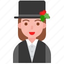 christmas, fashion, hat, mistletoe, party, suit, wear icon