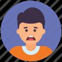 adolescent, male avatar, sad boy, teenager boy, upset boy icon