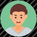 angry boy, annoyed, furious guy, irritated boy, male avatar icon
