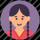 childhood concept, happy girl, naughty girl, school girl, smiling girl icon