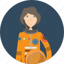 astronaut, avatar, career, character, face, female, profession icon
