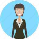 avatar, businesslady, career, character, face, female, profession icon