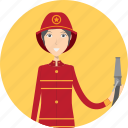 avatar, career, character, face, female, firefighter, profession icon