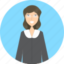 avatar, career, character, face, female, judge, profession icon