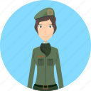 avatar, career, character, face, female, profession, soldier icon