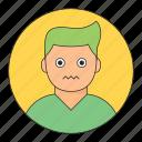 avatar, boy, emoticon, nervous, young icon