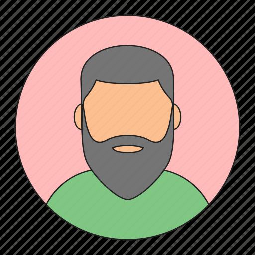 avatar, beard, emoticon, man, young icon