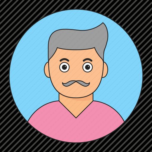 avatar, boy, emoticon, mustache, smile, young icon