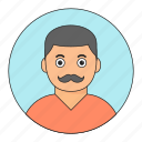 avatar, emoticon, mustache, young icon
