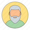 avatar, beard man, emoticon, man, old man icon