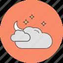 cloud, moon, stars icon