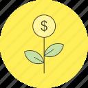dollar, investment, plant icon