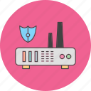 router, server, shield, wifi icon