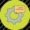 bubble, cog, message, setting, wheel icon