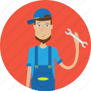 avatar, career, character, face, male, mechanic, profession icon
