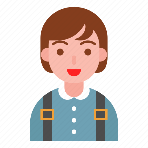 avatar, kids, school bag, student, teenage icon